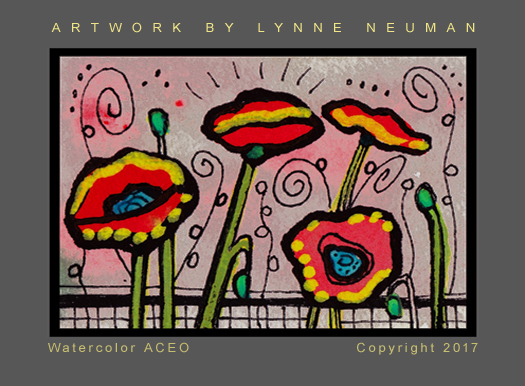 Poppies ACEO Signed Print by L Neuman