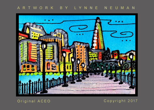 San Francisco Pier and Skyline ACEO Signed Print by L Neuman